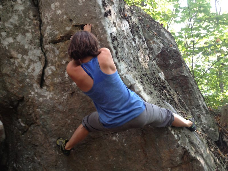 Amanda Smith just before the crux on Black-Toed Betty