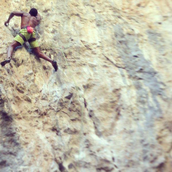 Rock Climbing Photo: Ironically crimping and struggling my way through ...