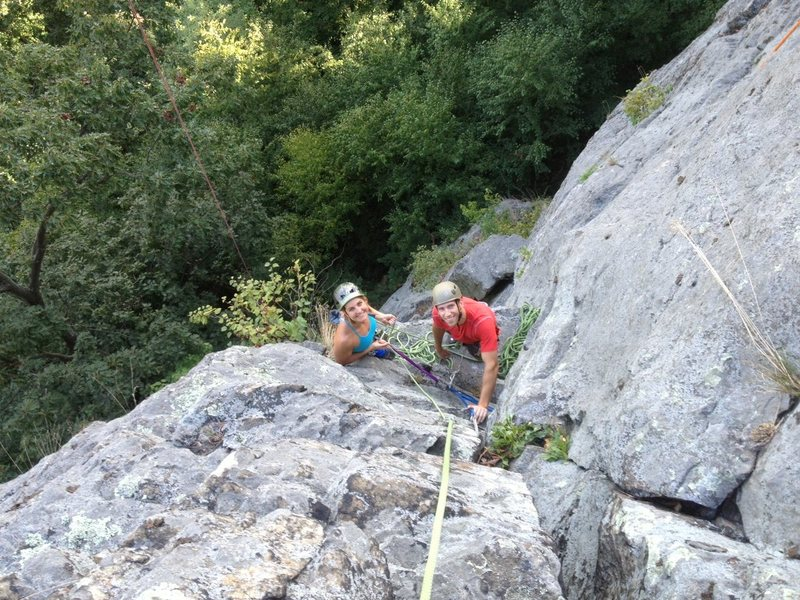 Rock Climbing Photo: If you belay here, on the flat ledge above the alc...