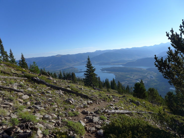 Breaking above treeline with Dillon Reservoir below.
