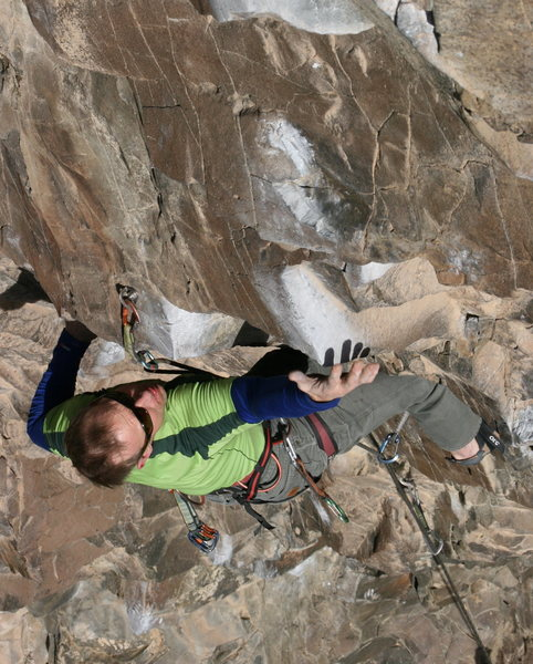 Keith Beckley cranking on the crux holds