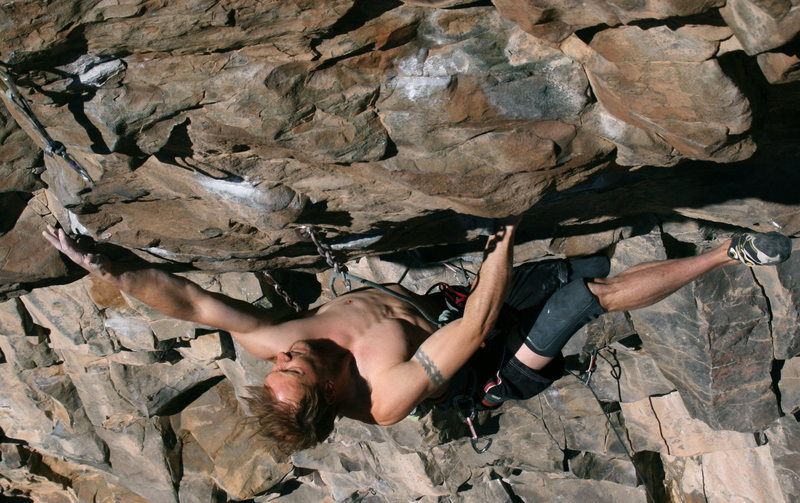August cranking on the crux holds.