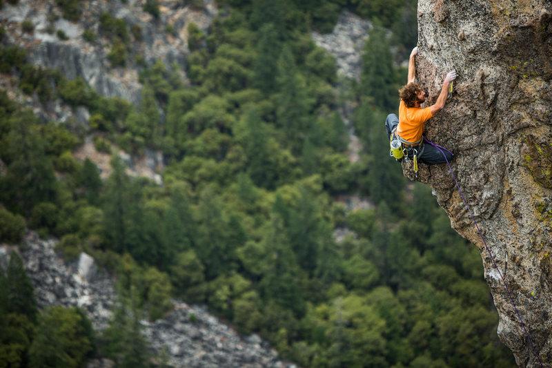 Cor sending a 12a sport climb in the Valley