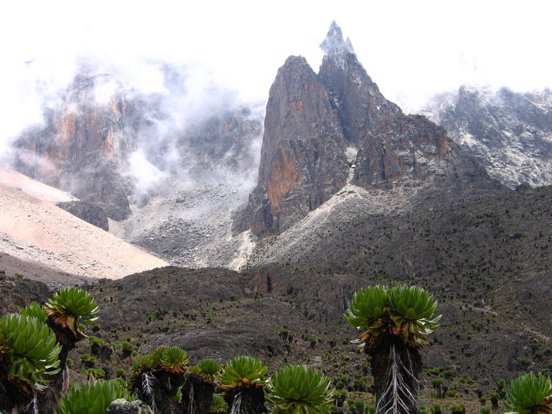 Shipton Spire,Mt.Kenya in the back
