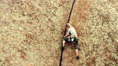 Rock Climbing Photo: Climbing Kim just after a hail storm.