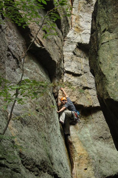 Rock Climbing Photo: The initial corner.  This is harder in the rain, f...