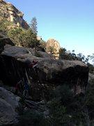 Rock Climbing Photo: Matty G. tops out Wills a Fire with a crew below. ...