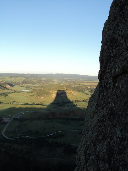 Rock Climbing Photo: Devil's Tower casts its July shadow.