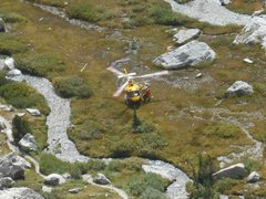 Rock Climbing Photo: The helicopter picking up the body of a dead Color...