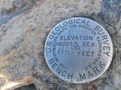 Rock Climbing Photo: The summit bench mark