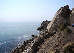 Rock Climbing Photo: Mugu Spire  To set up a top-rope, scramble up the ...