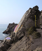 Rock Climbing Photo: Purple: 5.4-5.6 Red: 5.9 Orange: 5.2  Yellow: 3rd/...