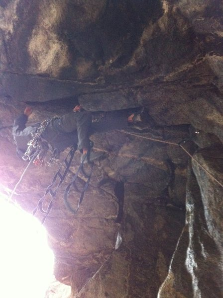 Terrible iPhone photo of Eddie getting into the steep stuff. Aid Roof, Castle Rock.