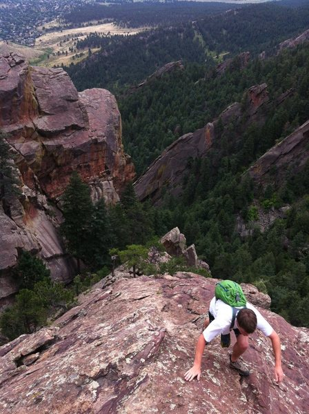 Eddie finishing up the amazing and exposed Angel's Way, Skunk Canyon, Flatirons.