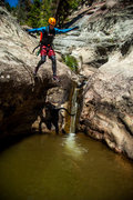 Rock Climbing Photo: Jumping the largest pothole in the narrows section...