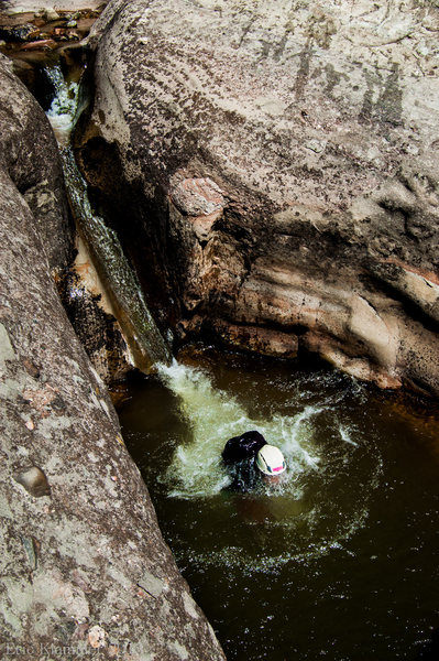 Nathan taking the plunge. Hay's Creek, Redstone, Colorado.