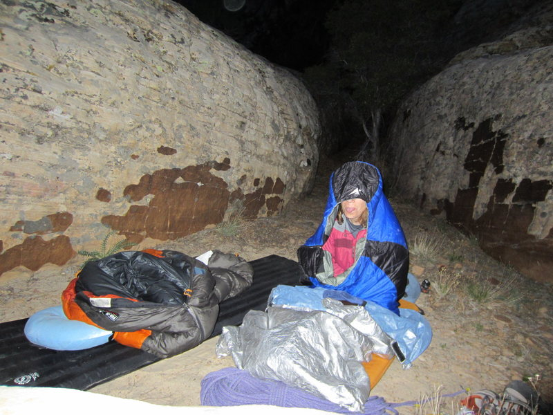 For added adventure we approached through Pine Creek the afternoon before and bivied about 300 yards west of the start of the route on a ledge with a stunning view. Somebody wasn't all the excited to see 5:00 a.m. roll around!