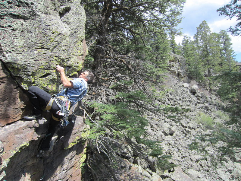 Rock Climbing Photo: Paul Drakos in the crux of Finger Puppet.