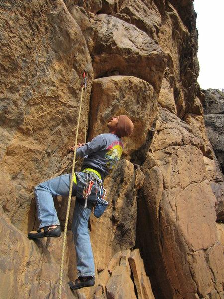 Matt Bogar exploring the unique basalt of The Phishbowl.