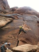 Rock Climbing Photo: Me leading Unknown Handcrack