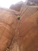 Rock Climbing Photo: Me leading Private Pizza.  Excellent climb!