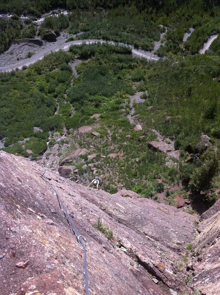 Nathan following P3 of the beautiful Skylight Arete. Pipeline Wall, Telluride.