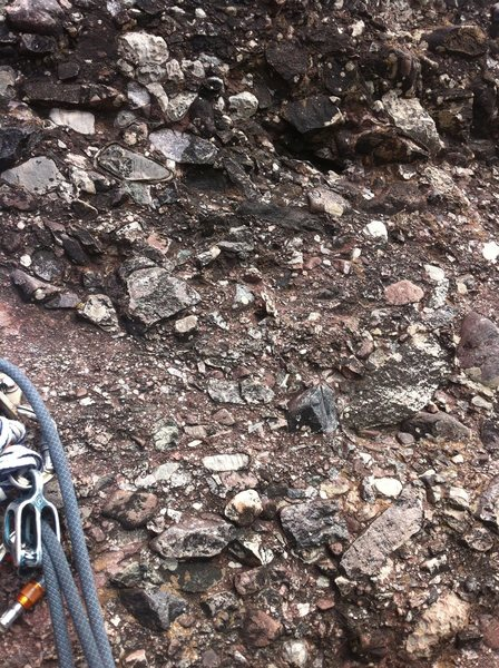 The conglomerate rock that Skylight Arete climbs. So solid, and too many holds to choose from!