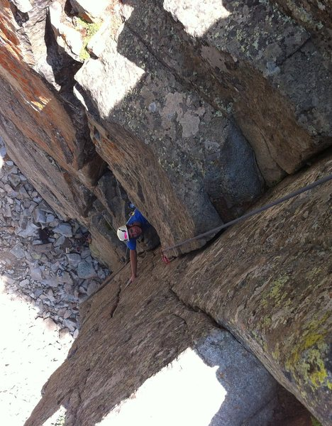 Nathan deciphering the crux of Chewbacca. Cracked Canyon, Ophir.