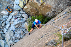 Rock Climbing Photo: Nathan making moves through the crux of Pirouette....