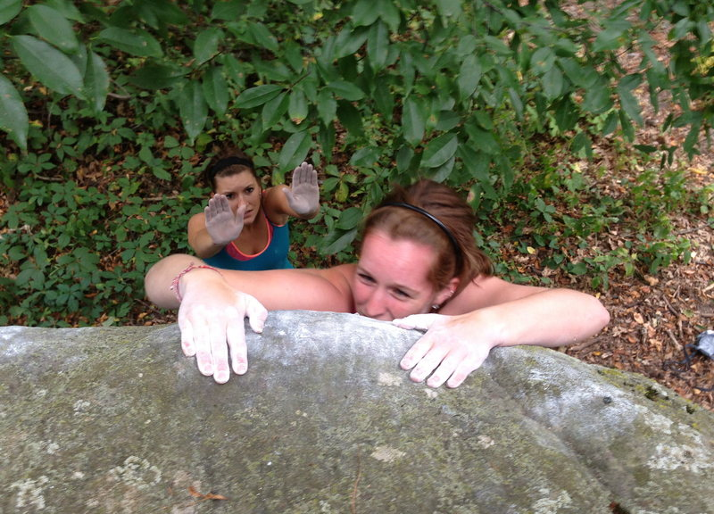 Rock Climbing Photo: Slopey top-out.  Can't tell if Morgan is enjoying ...
