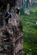 Rock Climbing Photo: Cruising along the Telluride Via Ferrata on a beau...