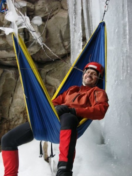 Hammocks, ice screws, and an old mine.  What could go wrong?