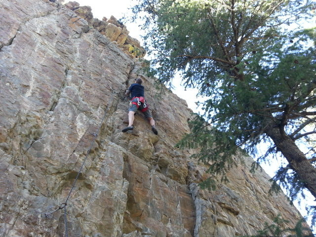 """Rock Climbing Photo: Nearing the top out on """"Party Line""""."""