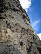 Rock Climbing Photo: Adam leading Squawstruck p5
