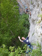 Rock Climbing Photo: One scout climbing the 5.7 while another rappels (...