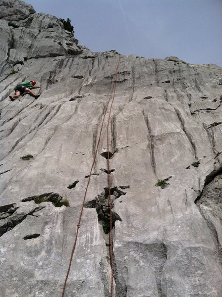 Red rope is a top rope set up on Litteul Kevin. Climber on the left is climbing Bois joli.