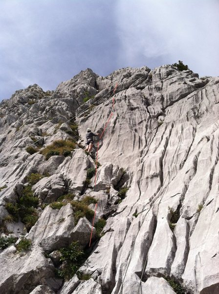 Rock Climbing Photo: Arrows show the rough direction of the route.