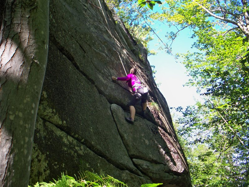 Emily on the crux moves