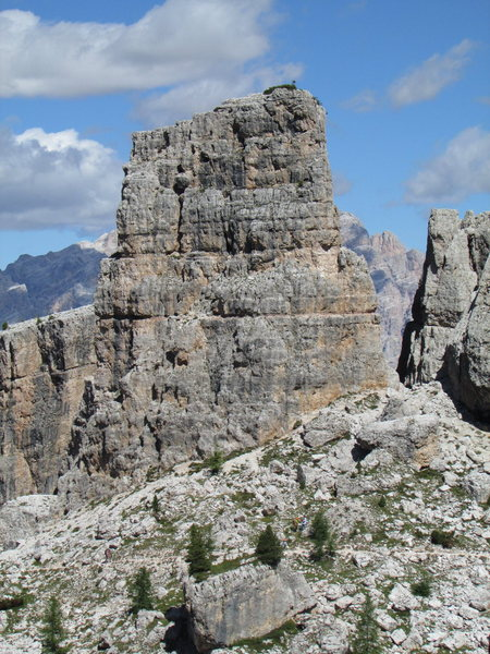 Torre Latina, West Face; as viewed from the trail leading from Rifugio Scioattoli to the Cinque Torri.