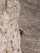 Rock Climbing Photo: Rodger midway up lead #4, where the route approach...