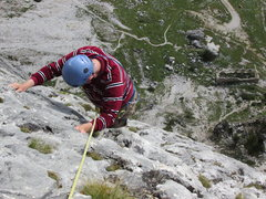 Rock Climbing Photo: Climbing the marvelous slab pitch at 5.4 and 5.5 f...