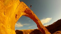 Rock Climbing Photo: Rope-swinging on Corona Arch