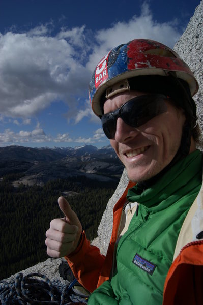 Rock Climbing Photo: Yes, that's a 1980's bike helmet