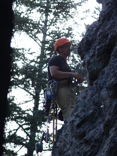 Rock Climbing Photo: DK with all of his tools of the trade, bolting Car...