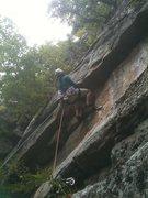 Rock Climbing Photo: Natasha prepares for the big move on P1.