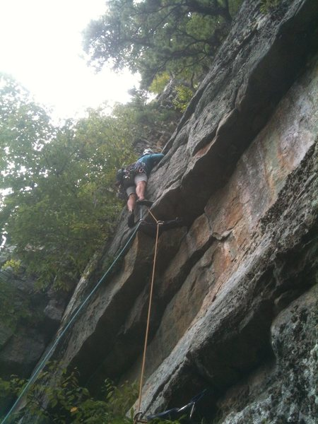 Rock Climbing Photo: Natasha wishing she brought that #4 Camalot.
