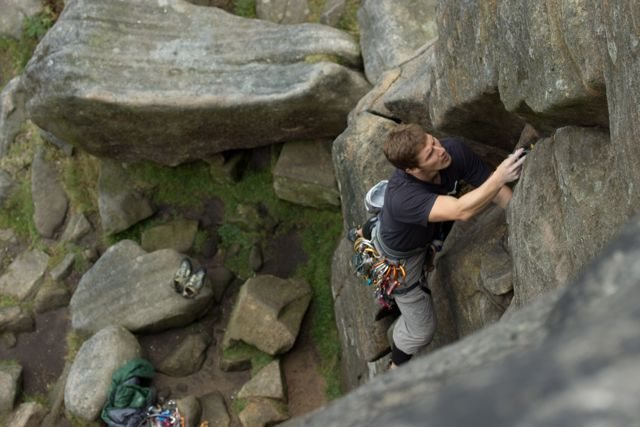 Rock Climbing Photo: Aaron loving his first trad lead! Is that your fir...