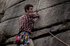 Rock Climbing Photo: gaining the left-hand crack