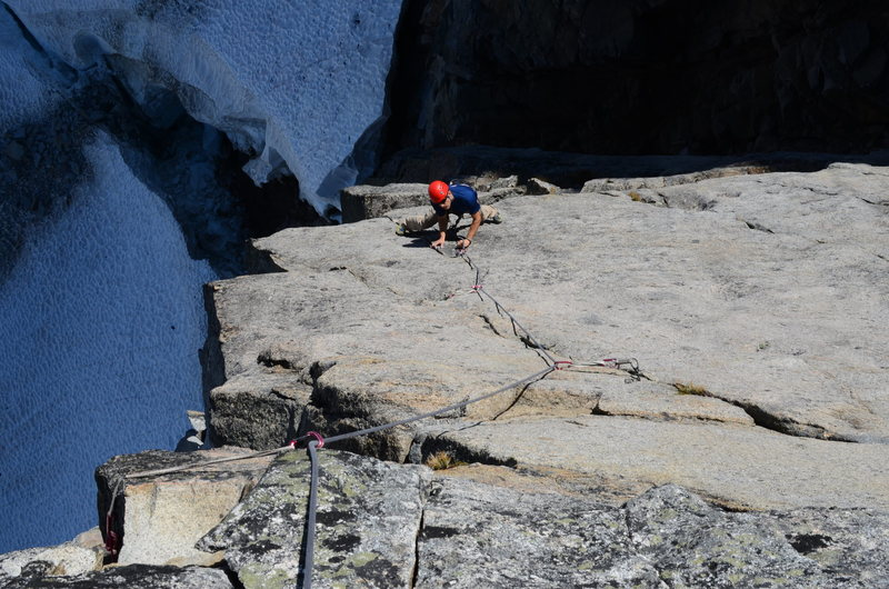 Jake, following P1 of the SE Ridge, just getting into the fingers section of the crack