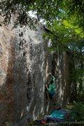 Rock Climbing Photo: Christian Prellwitz working through the opening mo...